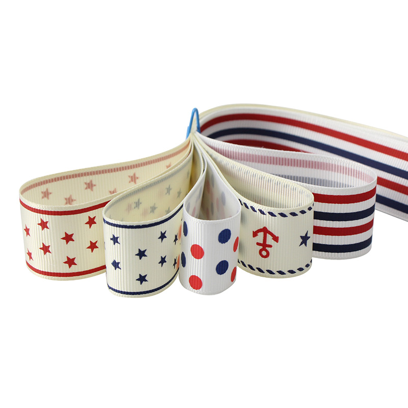 5y/lot 25mm Navy Printed Grosgrain Ribbons Hair Bow Wrapping DIY Trim Ribbon Sewing Craft Decoration Materials LX008