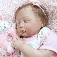 22 Inch Realistic Newborn Reborn Doll Toys Full Body Soft Silicone Vinyl Toddler Newborn Sleeping bebe Doll Toys For Girls Gift