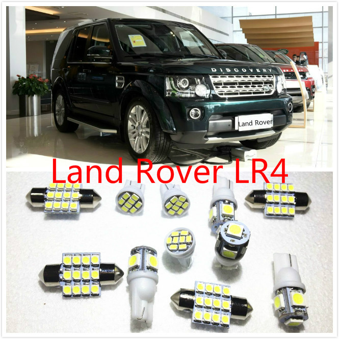 11 set White LED Lights Interior Package Map Dome For Land Rover Discovery Defender LR4 LR2