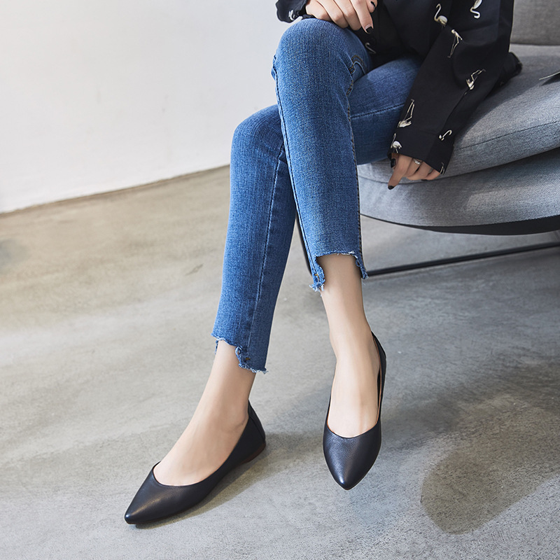 Pour Beige Les En Pointu Véritable Chaussures Dames noir Femmes Mary Casual Mocassins Bout Travail Appartements Sur tuose Noir 2018 Nouveau De Cuir Mode Janes Slip 6BOptw