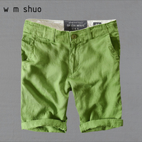 WMSHUO High Quality 100% Linen 2018 Summer Men's Loose Casual Beach Shorts Y046