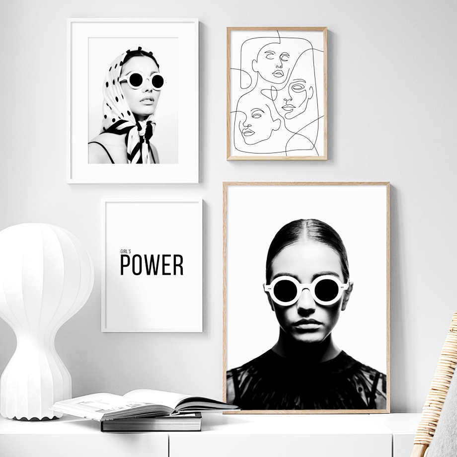 Glasses Lady Abstract Line Girl Fashion Wall Art Canvas Painting Nordic Posters And Prints Wall Pictures For Living Room Decor
