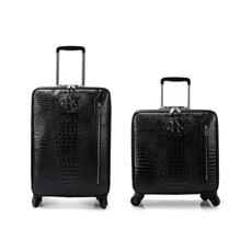 "Carrylove 16 ""20"" Mannen Echt Krokodil Stijl Cabine Hand Bagage Lederen Trolley Koffer Voor Business"