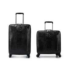 "Carrylove 16""20"" men genuine crocodile style cabin hand luggage leather trolley suitcase for business"