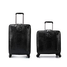 """Carrylove 16 """"20"""" גברים אמיתי תנין סגנון בקתת יד עור מזוודות עגלת מזוודה עבור עסקים"""
