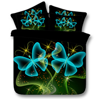 Dreamlike Butterfly Comforter Bedding Sets Twin Full Queen Super Cal King Size Bed Covers Bedspreads 3D Reactive Printed Green