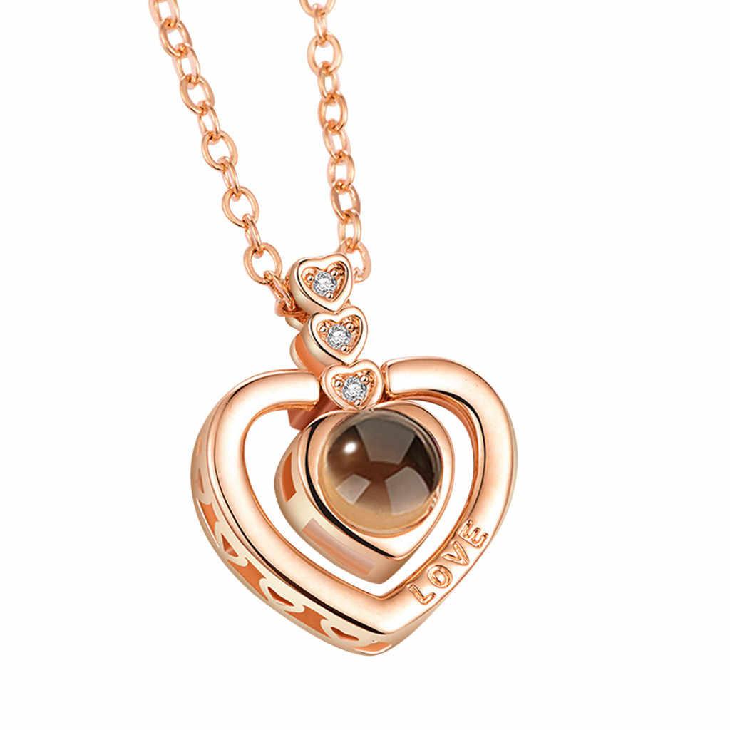 Różowe złoto I srebro 100 języków kocham cię projekcja naszyjnik romantyczne wspomnienie miłości naszyjnik ślubny