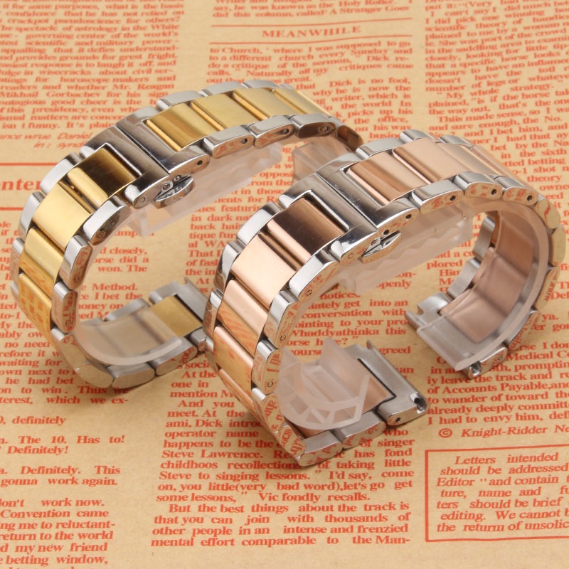 High Quality Stainless steel Watchband 18MM 20MM 22MM 24MM Silver and rose gold beautiful Watch band