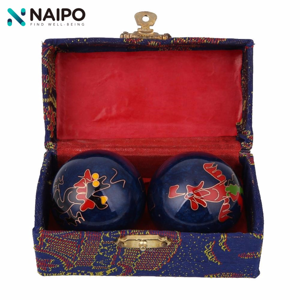 Naipo Chinese Cloisonne Health Exercise Stress Baoding Balls Hand Massager Yin Yang Fitness Handball Relaxation Therapy Gift Box 2pcs lot natural massage jade stone hand ball rolling exercise meditation stress relief fitness health healing reiki balls