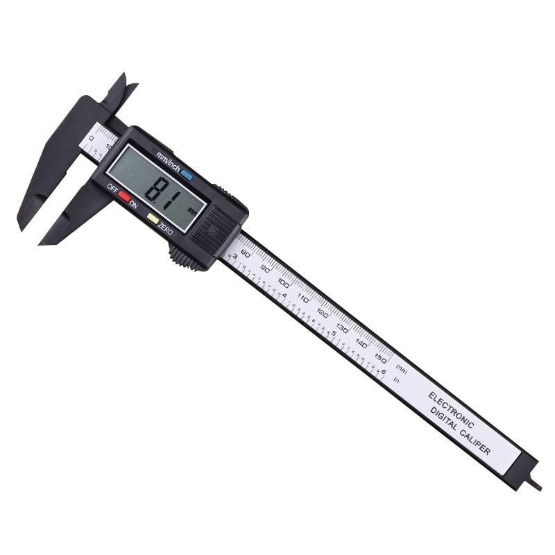 1 stück Messwerkzeug 0-150mm 6 Zoll Kunststoff LCD Digital Elektronische Kohlefaser Messschieber Regel Gauge mikrometer AT2076