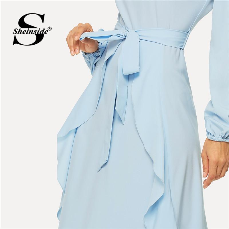 Self ชุดเดรสสำหรับสุภาพสตรีชุดยาว ส่วนลดครั้งสุดท้าย ฤดูใบไม้ผลิสีน้ำเงินไม่สมมาตร