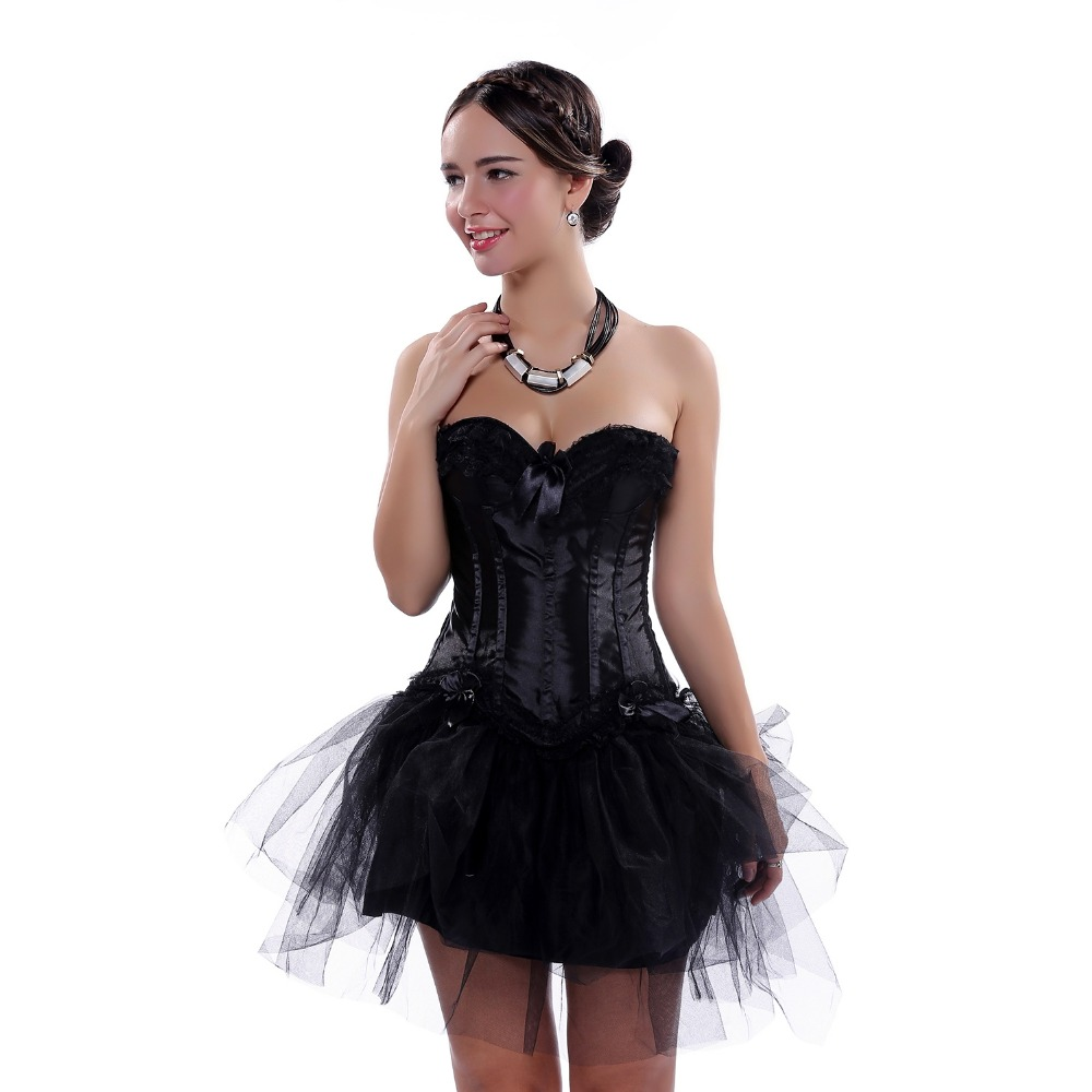 Women Multi-layer Lace trim Satin   Corset   Dress Sexy Slim Body Shaper   Bustier     Corset   With tutu Skirt