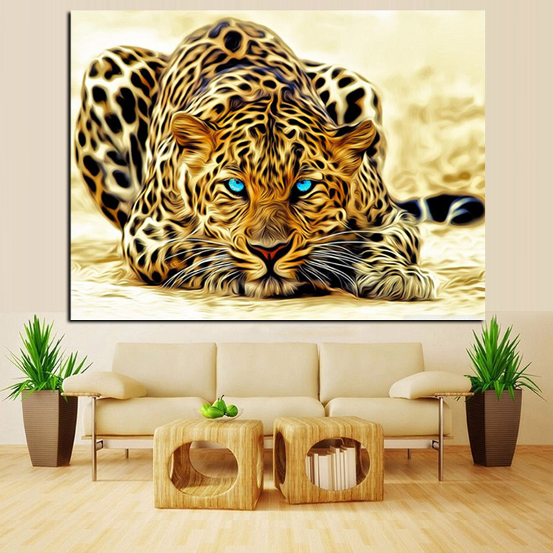 Digital HD Print Leopard Watching for Prey Animal Abstract Oil ...
