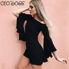 CEODOGG Mini Dresses Black Flare Sleeve Women Autumn Straight Goth Short Dresses Vintage Retro Fashion Gothics Mini Dress