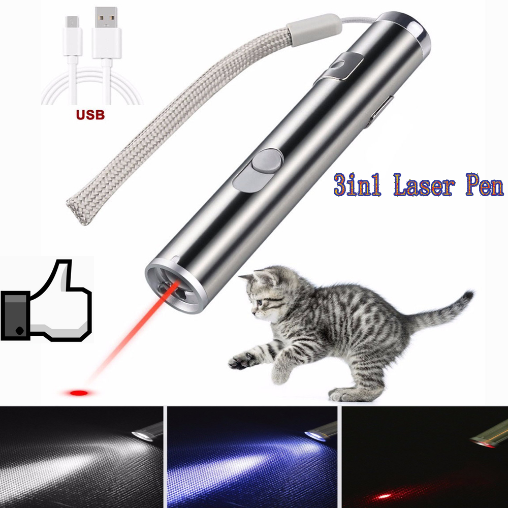 3 In 1 Red Laser Pen Multifunctional Laser Pointer Mini Led Flashlight Beam Light Pointer Interactive Toys Cat Pet Training Tool
