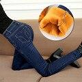 Jeans Stretch Para As Mulheres cintura alta quente engrossar Calça Jeans Mulher Calças Justas calças de Brim das Mulheres Femme Azul Cinza das Mulheres Calças lápis