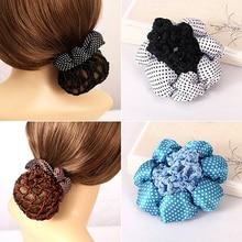 2016 Girl Women Dot Shiny Bun Cover Snood Hair Net Nets Ballet Crochet Hair Band