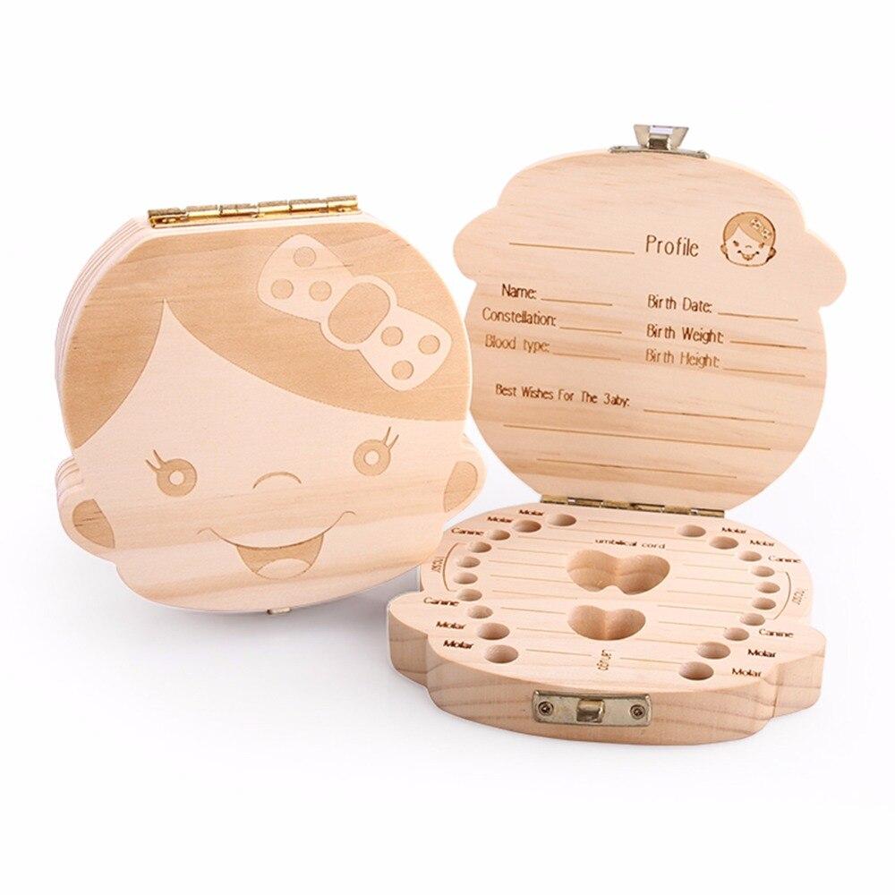 Dutch English Spanish Russia Text Baby Fallen Tooth Box Storage Natural Wood Case Save Milk Teeth Collection Organizer Holder