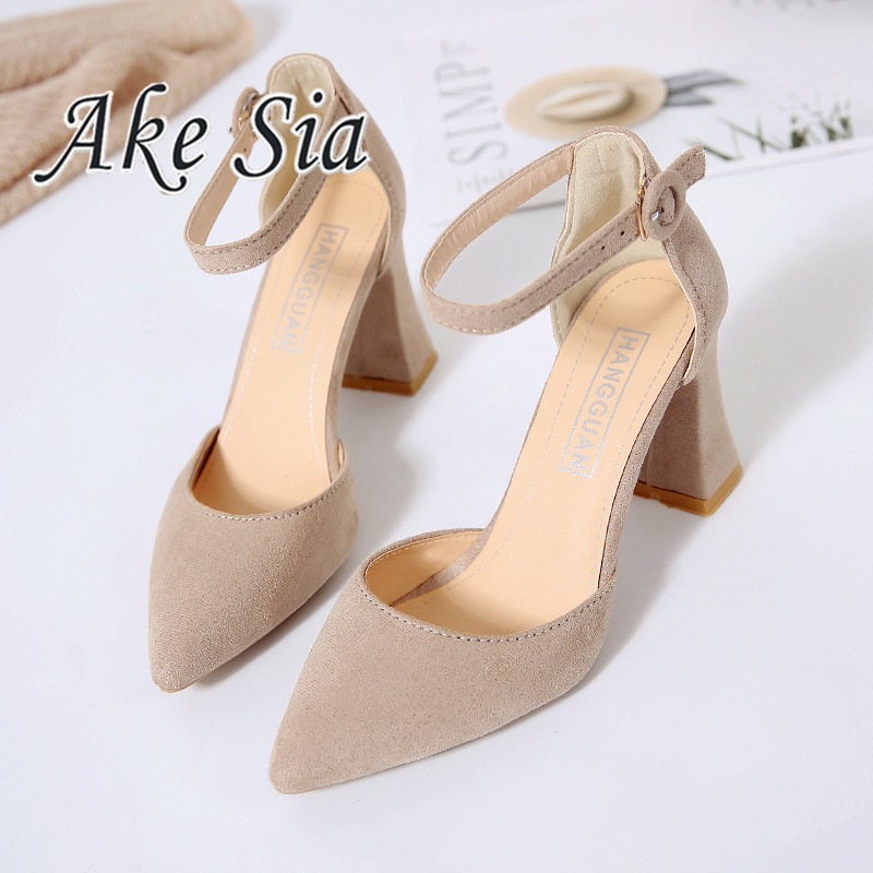 2019 Spring Ne2019 Spring New Word  Pointed High Heels Thick With Sandals Female  Hollow Suede Sandals High Heels Mujer V90