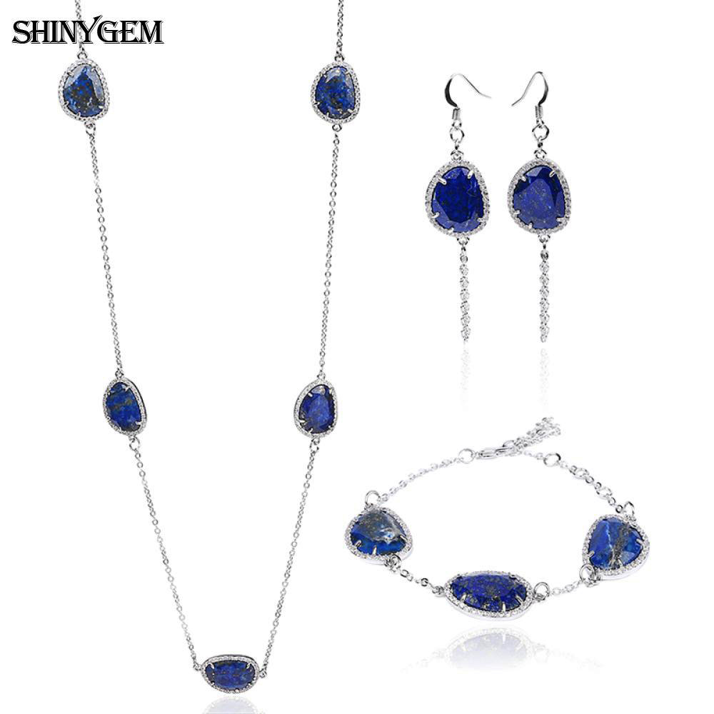 ShinyGem Fashion Lapis Lazuli Jewelry Sets Luxury Natural AAA+ Lapis Lazuli Silver Chain 3 Pieces Bridal Jewelry Sets For Women fashion natural stone 13x18mm lovely oval lapis lazuli stones beads chain necklace for women party wedding jewelry 18inch my5179
