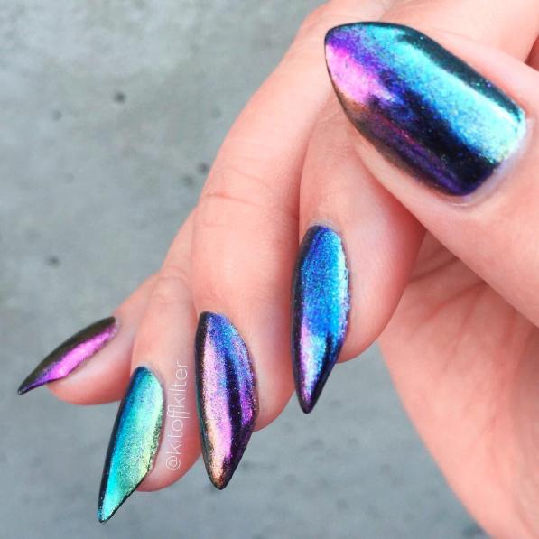 1g/box Chameleon Mirror Nail Glitters Shinning Powder Gorgeous Nail Art Chrome Pigment Manicure Dust Nail Art Decorations