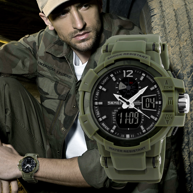 Meilleur achat ) }}Fashion Outdoor Men Military Watches SKMEI Top Brand
