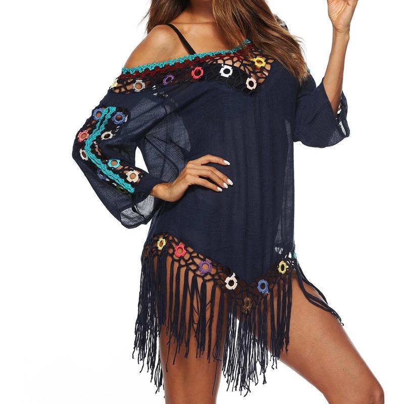 7961ef5ae942 2018 mujeres Sexy color borla ver a través de ganchillo túnica playa cubrir  traje de baño verano ...