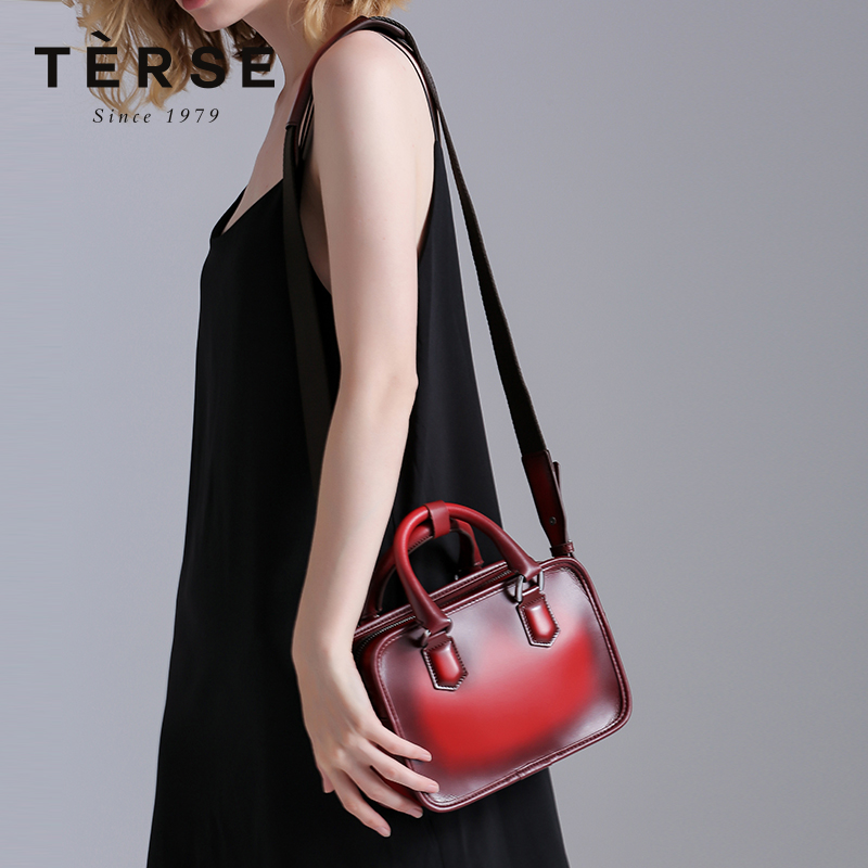TERSE New Women`s Handbag Genuine Leather Vintage Messenger Bags& Handbag 2 Purpose Flap For Ladies Red Mini Hand Bag LN9618 цены онлайн