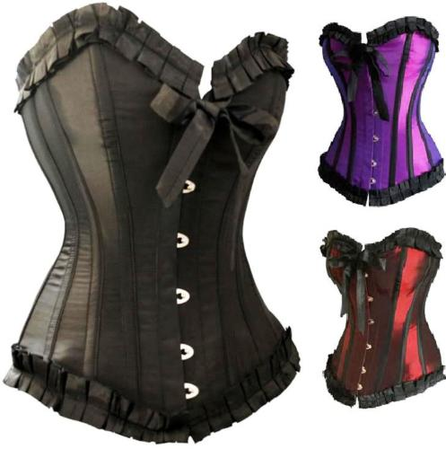 New sexy boned Lace up Bustier overbust Corset lace trim S-6XL free shipping
