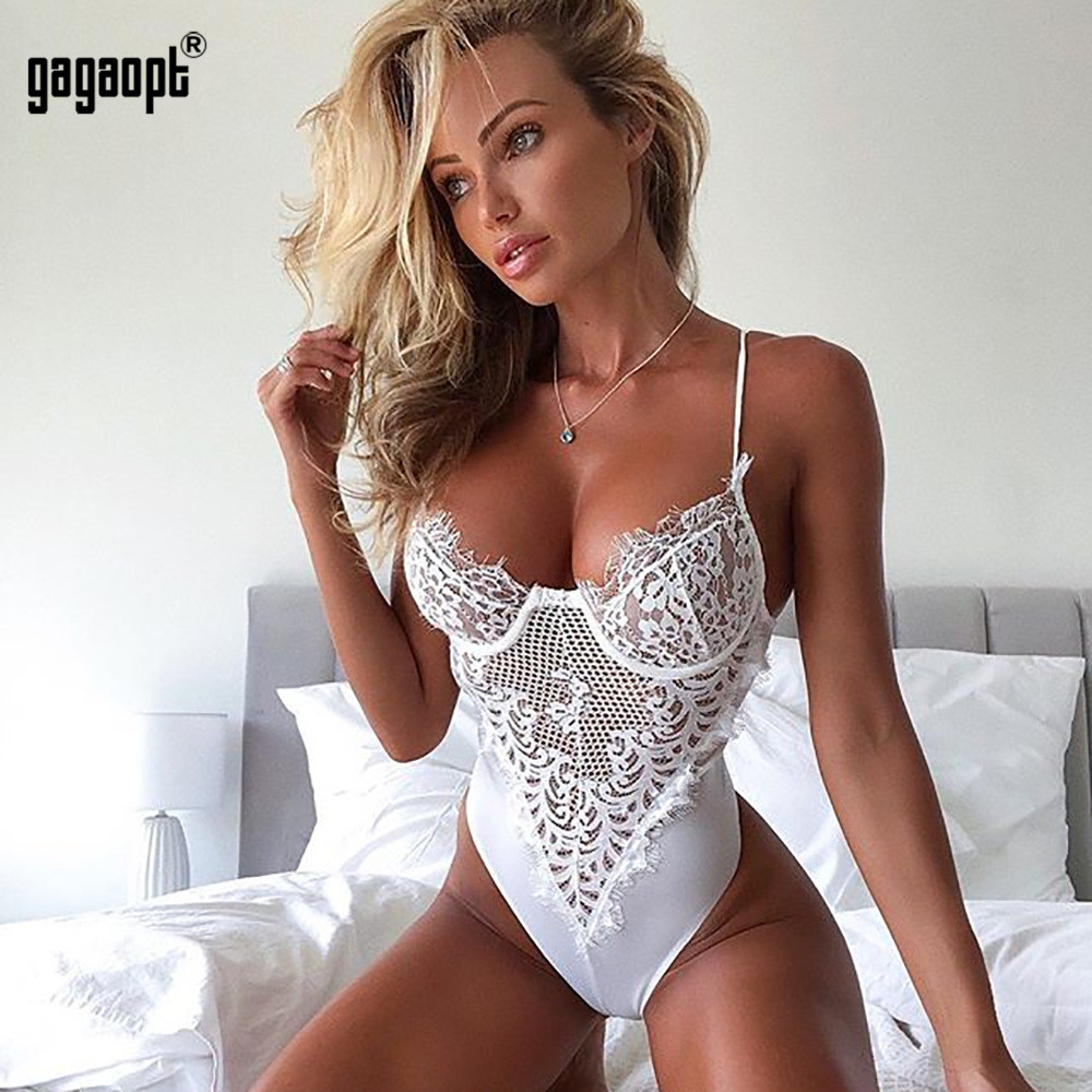 Gagaopt 2018 Lace Bodysuit Women Floral Embroidery White