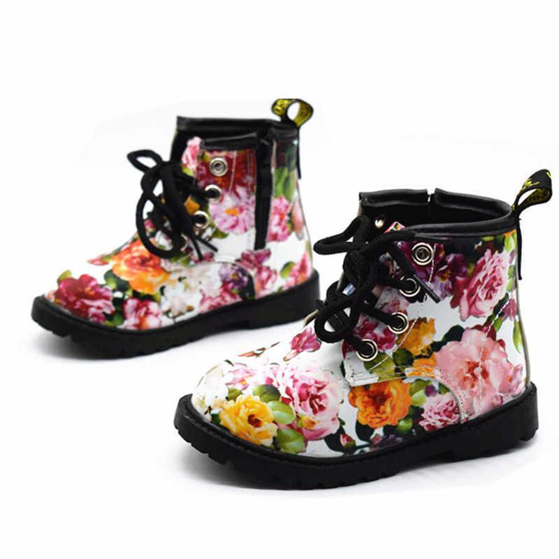 2019 בנות מגפי סתיו חורף עור מפוצל עמיד למים ילד מגפי נעלי Zip רומא פרח ילדה קטנה מרטין מגפי אופנה תינוק מגפיים