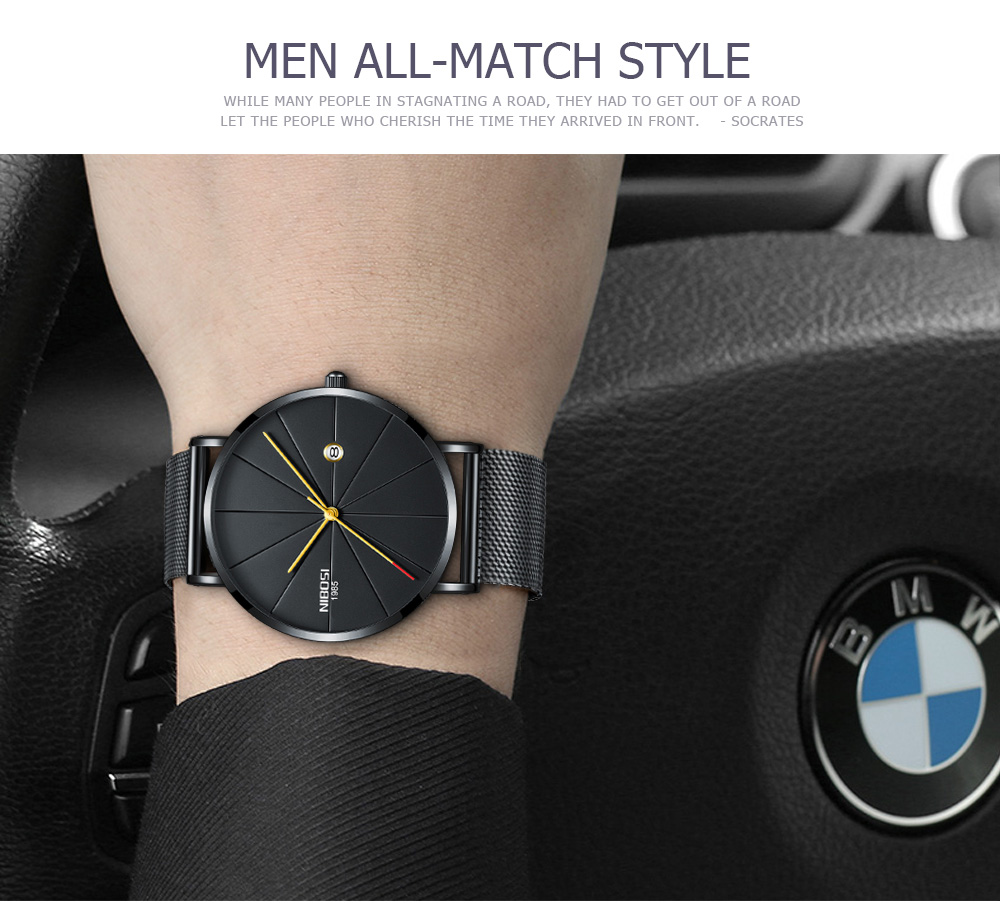 NIBOSI watch men black quartz wristwatches stainless steel mesh brand  watches men ultra thin quartz relogio masculino dourado (19)