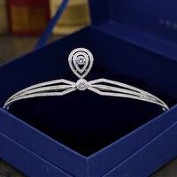 Модные Для женщин jewelry глава ювелирные изделия из Кубического циркония волос Pin для свадьбы выпускного бала acessorio Para Cabelo красоты Корона H-036