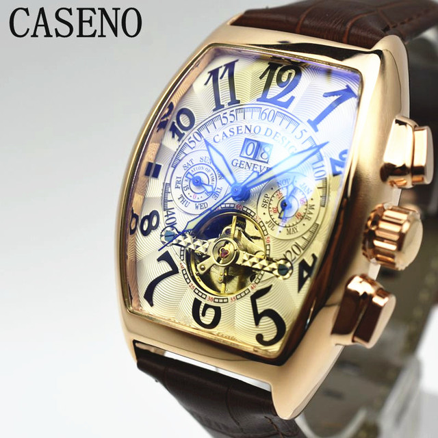 Reloj mecánico automático de hombre CASENO reloj de pulsera de cuero  esqueleto de moda para hombre 35653e80db76