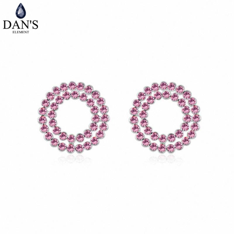 DANS Colors Real Austrian crystals Stud earrings for women Earrings s New Sale Hot Round 95290