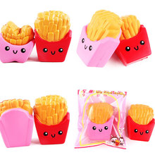 GETTO Jumbo French Fries PU Stress Relief AntiStress Squishy Spremere Profumato puching piching squishies Cinghie Del Telefono Mobile(China)