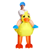 Adult Riding Yellow Duck Fantasy Halloween Carnival Cosplay Costume Funny Inflatable Suit