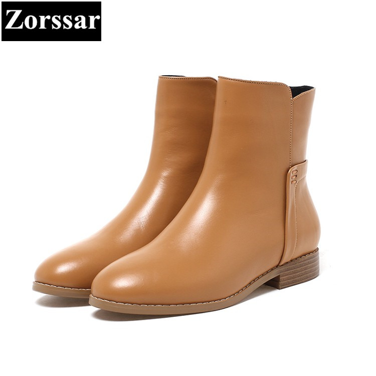 {Zorssar} NEW arrival fashion Casual Flat heel Women Chelsea Boots Round toe flats ankle boots autumn winter female shoes Brown booties warm shoes winter round toe side zip boots brown real fur flat casual ankle female new ladies 2017 chinese fashion short
