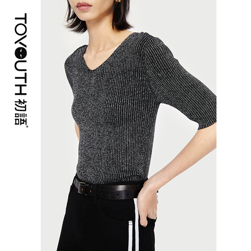Toyouth Women Knitted Top V Neck Half Sleeve Basic Casual Female Knitted Sweater