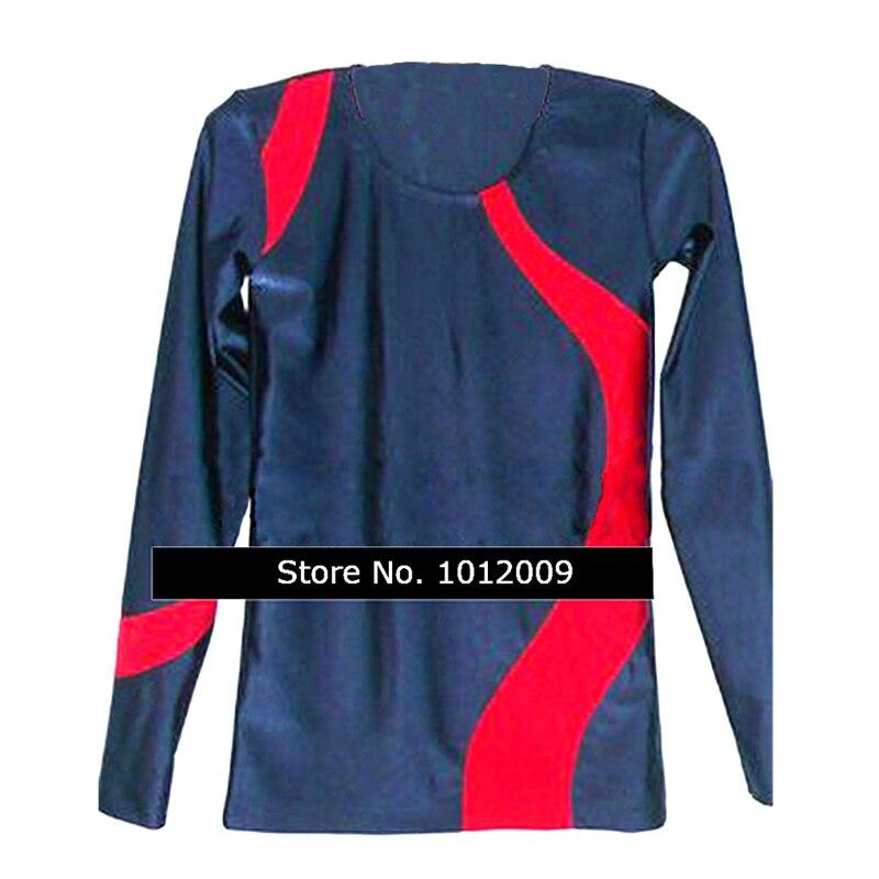Customized Clothes boy men Ice Figure Skating Tops T-shirt Gymnastics purplish Blue Red Adult Child Boy Clothing Long Sleeve