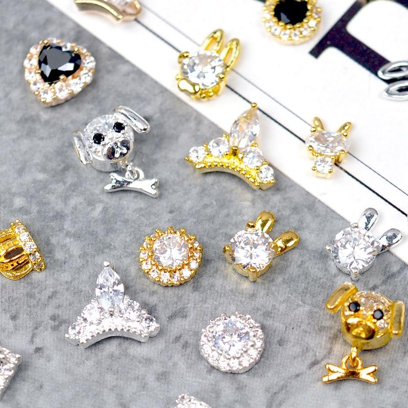 10 Stücke Nagel Strass Legierung Diamant Nagel Schmuck Transparent Kristall Gold Silber Crown Nail Art Ornamente Dekoration Zubehör Schönheit & Gesundheit