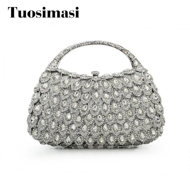 Stones Rhinestone Handbags And Purse Designer Basket Women Crystal Clutches Metal Bridal Wedding Clutch