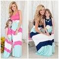 Случайные Мать Дочь Платье Лето Семья Одежда Полосатые Девушки Одеваются Сарафан Семья Мама и Дочь Соответствующие Платье