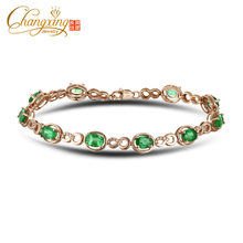 14k Rose Gold Oval 4.50ct Natural Emerald Round Cut Diamond Bracelets
