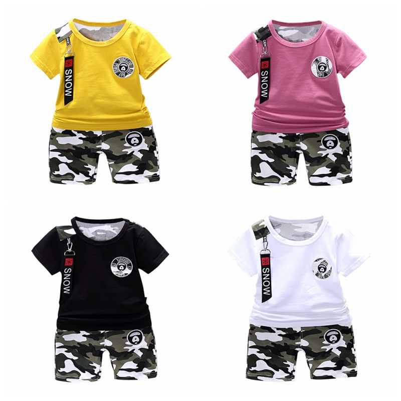 Summer Children O-Neck Short Sleeve Top Shirt With Camouflage Printed Shorts Kids Clothing Set