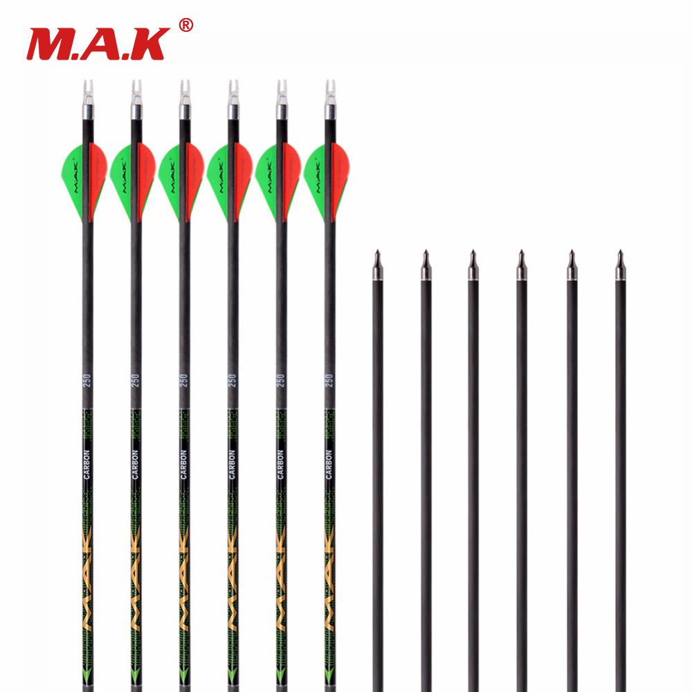 6/12/24 pcst Pure Carbon Arrow 30 Inches Spine 250 OD 7.6mm ID 6.2mm for Compound Bow Archery Hunting Shooting цена 2017