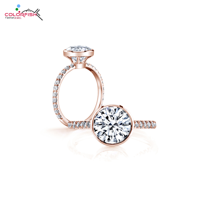 COLORFISH Bezel Set 3 Carat Brilliant Solitaire Engagement Wedding Ring Women 925 Sterling Silver Rose Gold Color Female Rings недорого