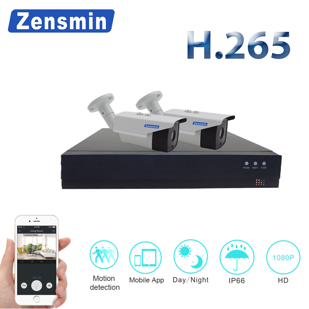 ZensminH.265 4CH 1080P POE NVR kit 2MP 3000TVL PoE IP Camera P2P Cloud CCTV System IR Outdoor NightVision Video Surveillance Kit techege 4ch 1080p poe nvr kit 2mp ip camera ir night vision waterproof ip67 p2p cloud service 1080p poe cctv surveillance system