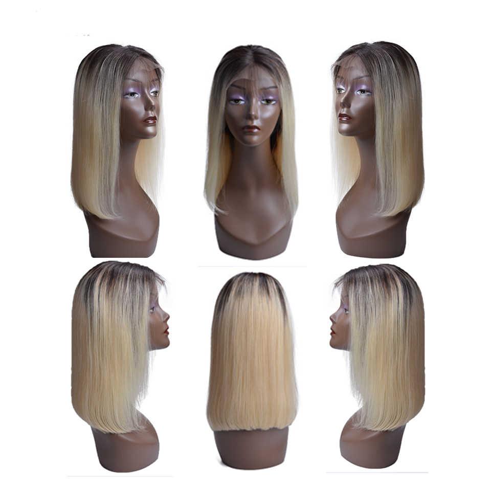 Синтетические волосы на кружеве парики из натуральных волос на кружевной T1B 613 блондинка короткие Боб прямая шнуровка, Парики Бразильский Реми человеческие волосы предварительно выщипанные волосы