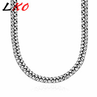 LKO 2 * 7MM Vintage Punk Simple Style Link Chain Men's Necklace 316L Stainless Steel Gothic Boy's Necklace Wholesale